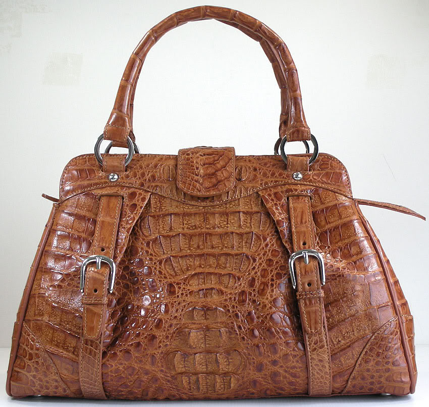 Purse : light brown crocodile purse