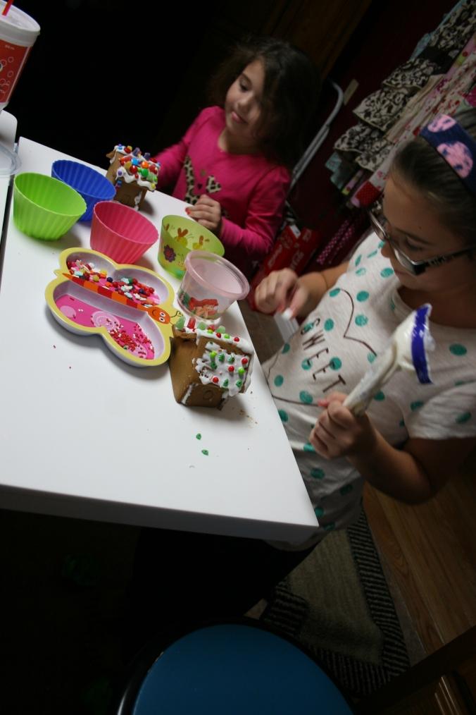 making a gingerbread village